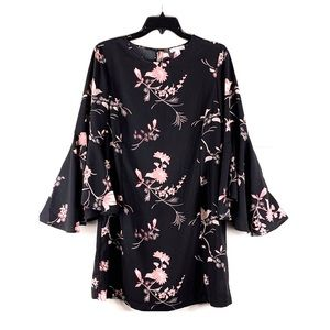 Leith Bell Sleeve Floral Print mini Dress Small